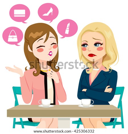 Young girl gossiping boasting about her life having coffee with adult woman in disbelief or disappointment - stock vector
