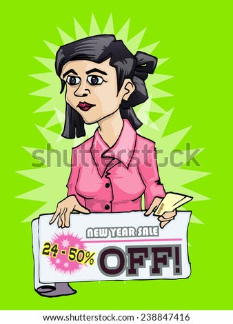 young girl holding discount label cartoon hand draw - stock vector