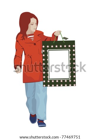 young girl holding shopping bag - stock vector