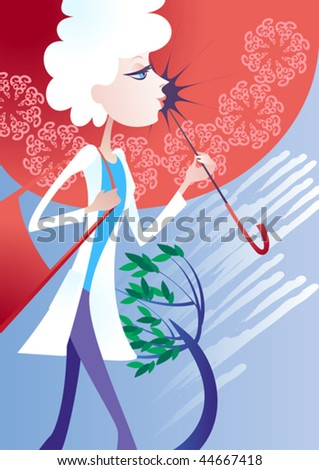 Young girl in a white cloak, hiding from the rain under an umbrella - stock vector