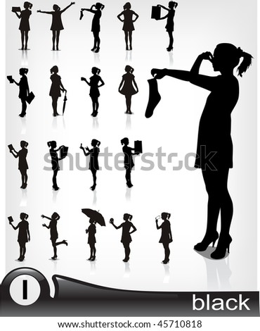 Young girl in dress- high quality silhouette collection. - stock vector