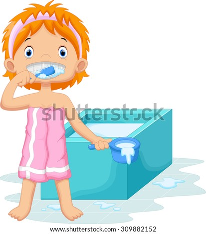 Young girl is brushing her teeth in the bathroom - stock vector
