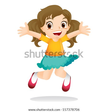 Young girl jumping excitedly - stock vector