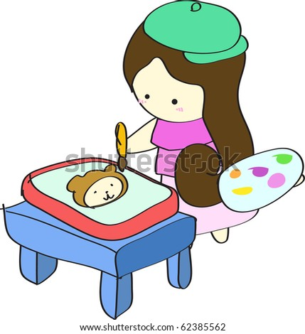 Young girl kid artist painting a cute bear picture on drawing plate on table cartoon vector illustration - stock vector