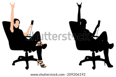 Young girl listen music on chair, vector  - stock vector