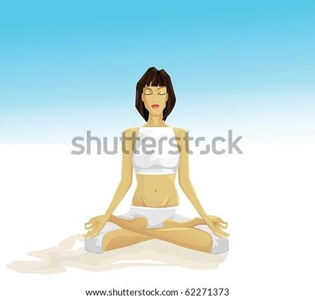 young girl meditating outdoor - stock vector