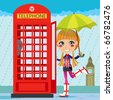 Young girl opening a red telephone booth in London under the rain - stock vector