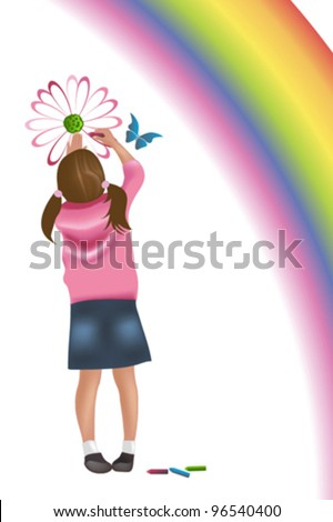 Young girl painting on wall - stock vector