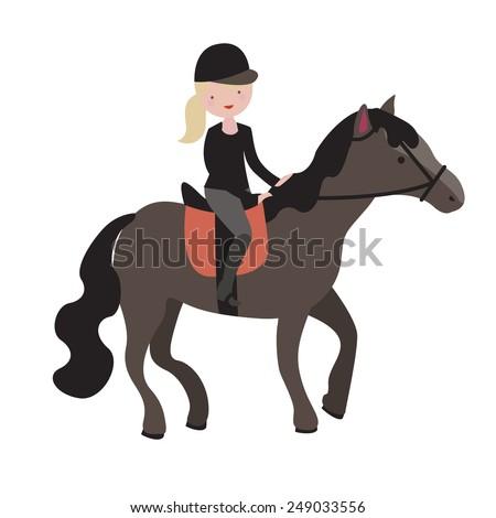 Young girl parade rider - stock vector