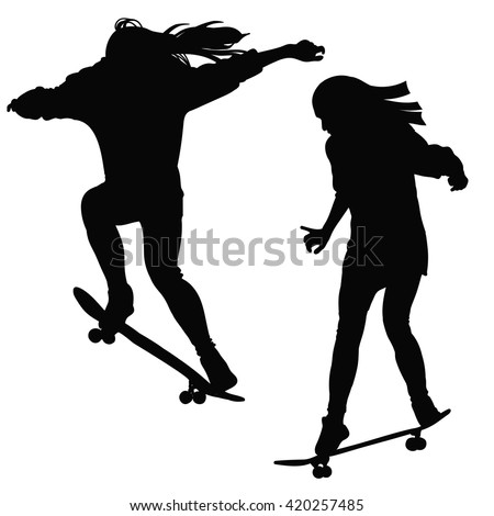 Young girl riding skateboard black white stock vector hd royalty young girl riding a skateboard in black and white tone voltagebd Gallery