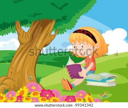 Young girl sitting and reading in the park - stock vector