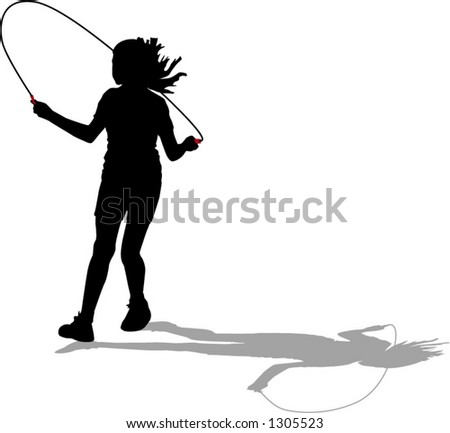 young girl skipping - stock vector