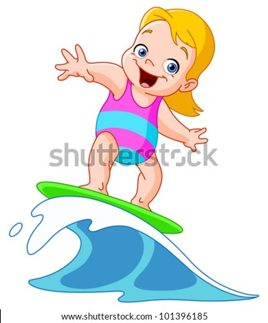 Young girl surfing
