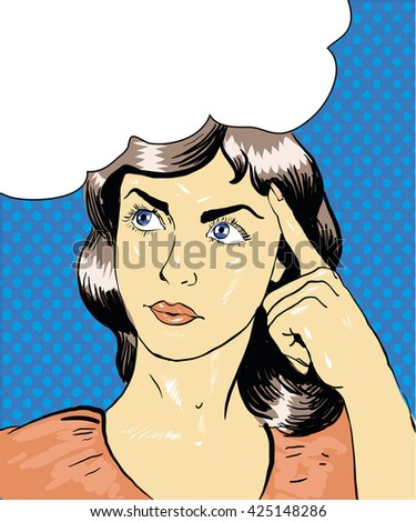 Young girl thinking. Pop art retro comic illustration vector stock art - stock vector