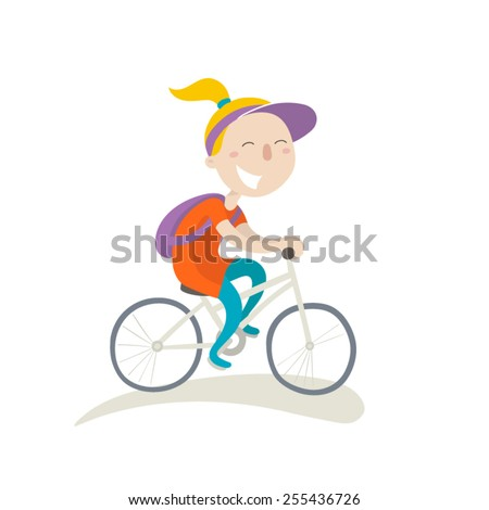 Young girl with backpack on a bike, flat illustration - stock vector