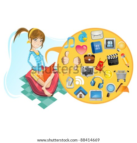 young Girl with her laptop sitting on pillow browsing social media icon - stock vector