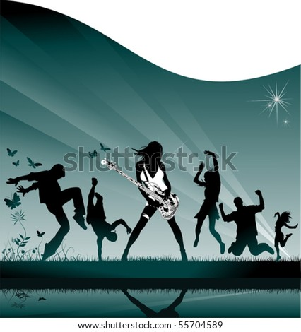 Young girls and boys at a party outside the city; - stock vector