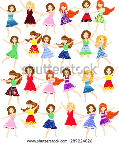 Young girls in various poses dancing - stock vector