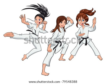 Young girls, Karate Players. Vector cartoon isolated characters - stock vector
