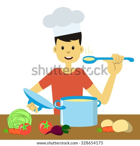 Young Goodlooking Man Chef Hat Cooking Stock Vector
