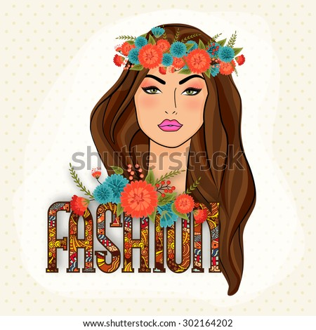 Young gorgeous beautiful girl wearing wreath with stylish colorful text Fashion on abstract background. - stock vector