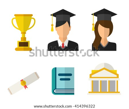 Young graduates student in graduation cap and ceremony robe and graduation icons - stock vector