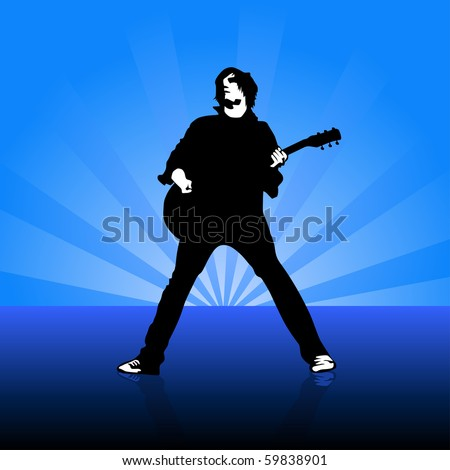 young guitarist on stage vector illustration - stock vector