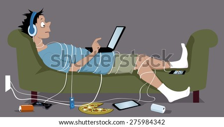Young guy, addicted to internet, lying on a couch, tangled up in cables from his many gadgets, a laptop sitting on his stomach, vector illustration, no transparencies, EPS 8  - stock vector