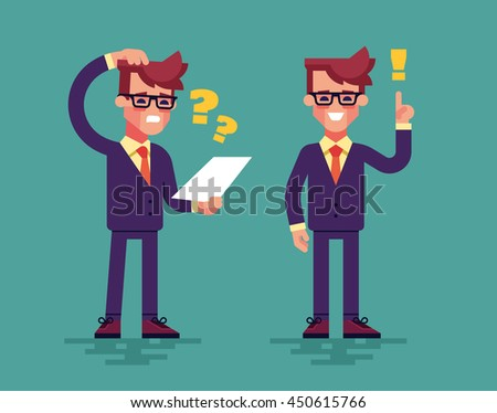 Young handsome businessman has a challenge and find a solution. Business concept. Vector illustration flat style. - stock vector