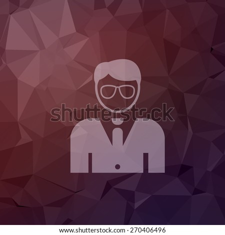 Young handsome man icon in flat style for web and mobile, modern minimalistic flat design. Vector white icon on abstract polygonal background - stock vector