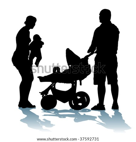Young, happy family with newborn baby on a walk.