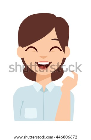 Young happy woman smiling or student happy girl. Smiling woman vector illustration and smiling woman adult beauty person. Healthy smiling woman character and flat smiling woman positive joy face. - stock vector