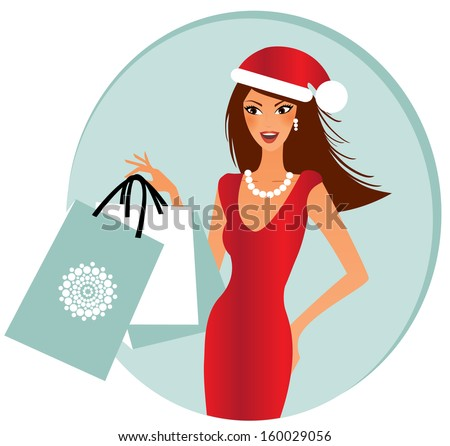 Young happy woman with shopping bahs full of xmas presents - stock vector