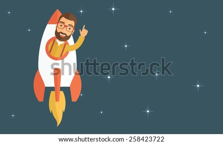 Young hipster with a beard inside the rocket flying in a space. Startup concept. Vector flat design illustration. Horizontal layout with a text space in a right.  - stock vector