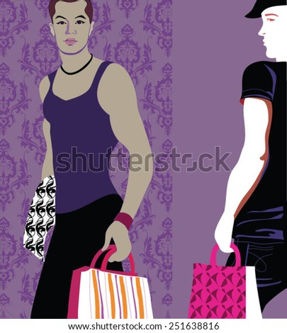 Young Homosexual Couple with Shopping Bags - stock vector