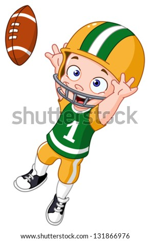 Young kid playing American football - stock vector