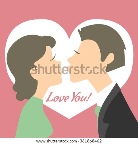 Young kissing couple on the background with heart and text, vector image - stock vector