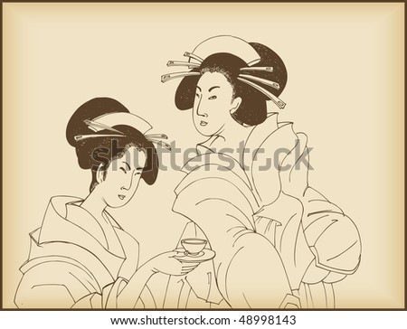 young ladies drinking tea- japanese style drawing - stock vector