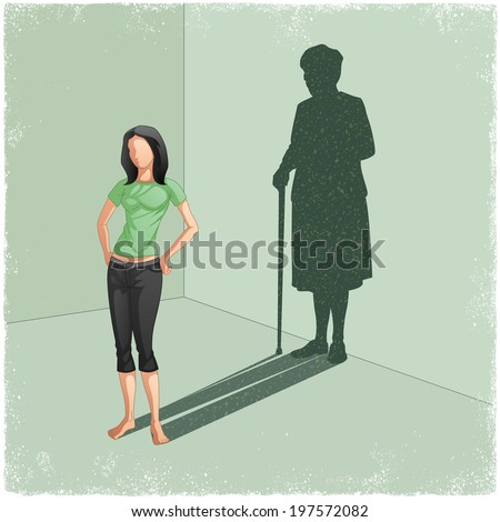 Young lady casting shadow of old woman in vector - stock vector