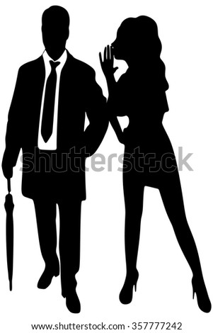 Young lady  whispering secrets in her boyfriend's ear - stock vector