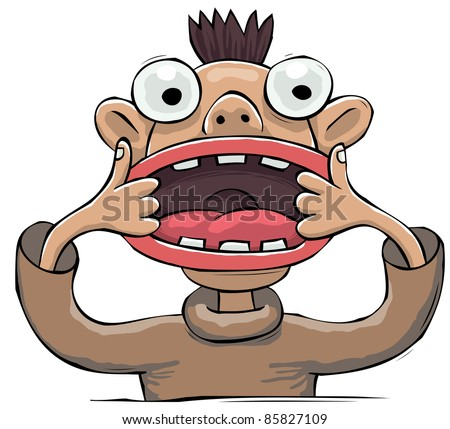 Young little punk showing faces with his wide mouth - stock vector
