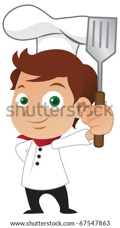 Young male chef holding a frying spoon. - stock vector