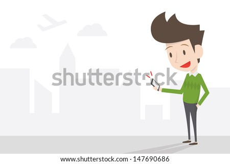 young man and mobie in city life, vector - stock vector