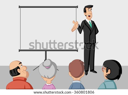 Young man and white billboard with empty space. Presentation screen. - stock vector