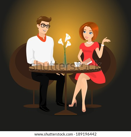 Young man and woman have a date in the restaurant. - stock vector