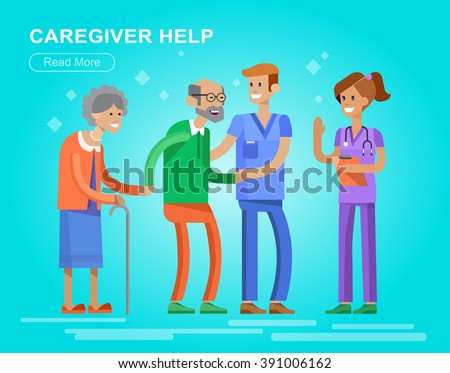 Young man and women caregiwer, helping an old lady and old man. Elder people care and nursing. Vector detailed character flat design - stock vector