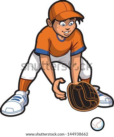 Young Man Baseball Softball Outfielder Catching a Ground Ball - stock vector