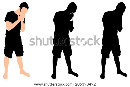 Young man blowing nose into a tissue, vector - stock vector