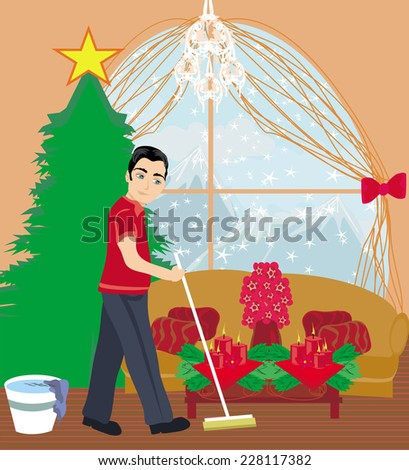 young man cleaning house before Christmas - stock vector