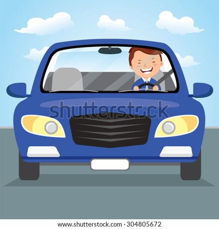 Young man driving blue car on the road. Vector illustration of a cheerful young man driving. - stock vector